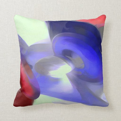 Red, White and Blue Pastel Abstract Pillow