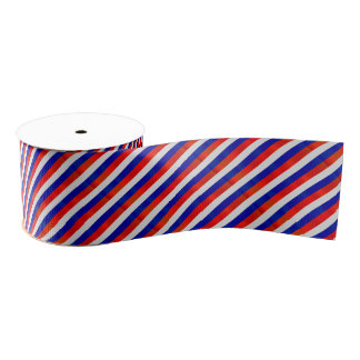 Red, White and Blue Patriot Stripes Grosgrain Ribbon