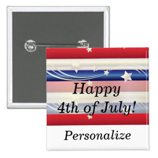 Red, White and Blue Patriotic 2 Inch Square Button