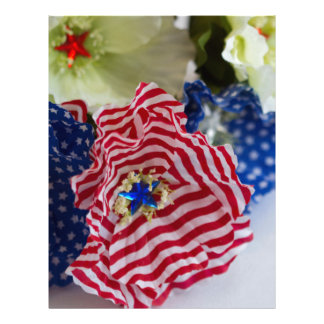 Red White and Blue Patriotic American Flag Bouquet Custom Letterhead