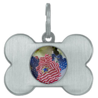 Red White and Blue Patriotic American Flag Bouquet Pet Tag