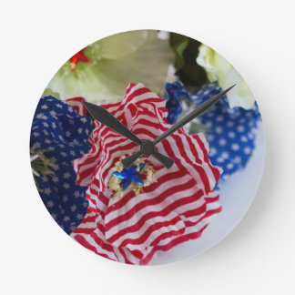 Red White and Blue Patriotic American Flag Bouquet Wallclock