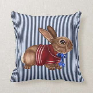 Red White and Blue Patriotic Rabbit Decorative Throw Pillow
