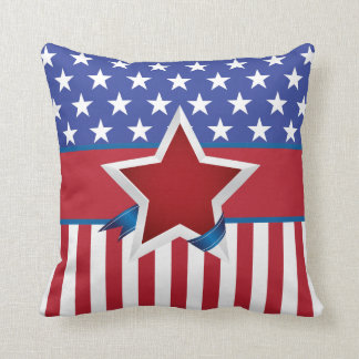 Red White and Blue Patriotic Star Pattern Throw Pillow