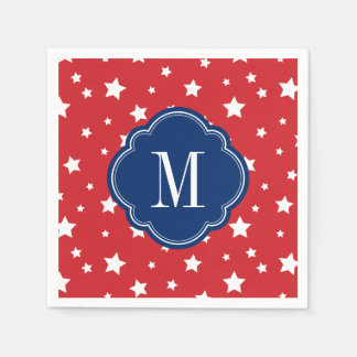 Red White and Blue Patriotic Stars Monogram Disposable Napkins
