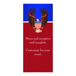 Red, White and Blue Patriotic Wedding Menu Card