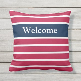 Red, White, and Blue Patriotic Welcome Pillow