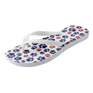 Red, White, and Blue Paw Print-Pattern Flip-Flops Flip Flops