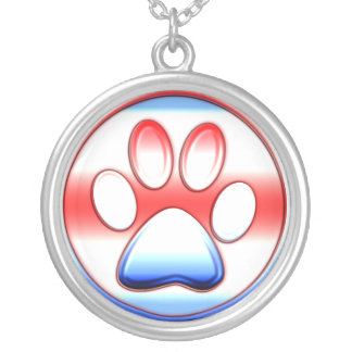 Red White and Blue Paw Print Silver Plated Necklace