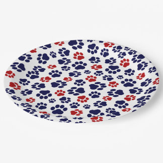 Red, White, and Blue Pawprint Paper Plate 9 Inch Paper Plate