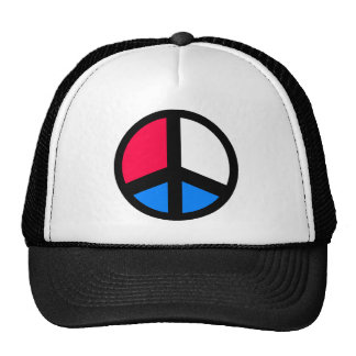 Red , White and Blue Peace Trucker Hats
