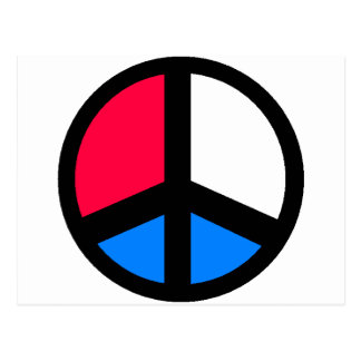 Red , White and Blue Peace Post Card