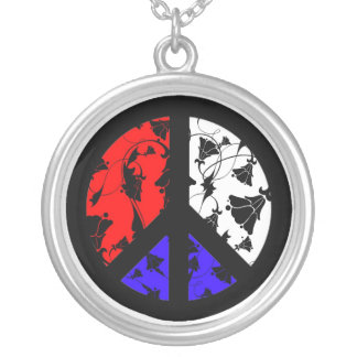 Red, White and Blue Peace Round Pendant Necklace