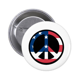 RED WHITE AND BLUE PEACE SIGN 2 INCH ROUND BUTTON
