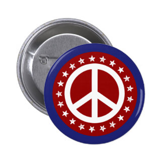 Red White and Blue Peace Sign and Stars 2 Inch Round Button