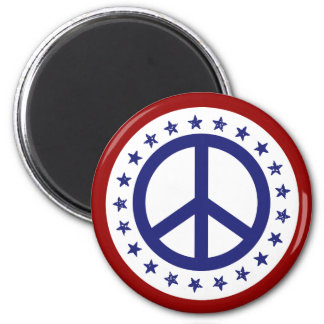 Red White and Blue Peace Sign and Stars 2 Inch Round Magnet