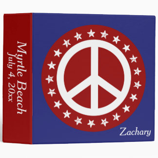 Red White and Blue Peace Sign and Stars 3 Ring Binders