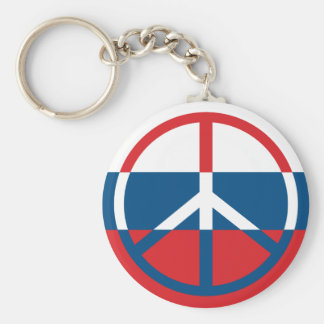 Red, White and Blue Peace Sign Basic Round Button Keychain