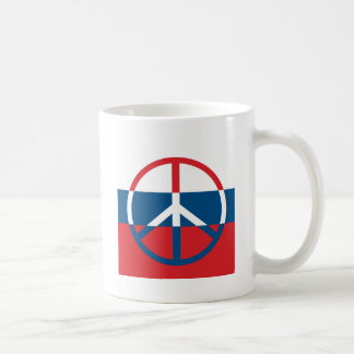 Red, White and Blue Peace Sign Basic White Mug