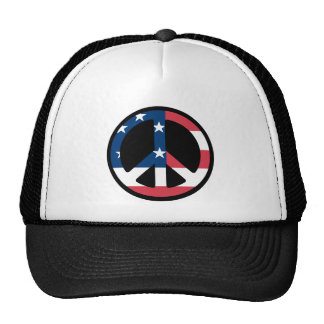 RED WHITE AND BLUE PEACE SIGN TRUCKER HAT