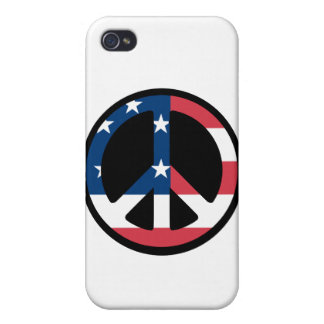 RED WHITE AND BLUE PEACE SIGN iPhone 4 CASES