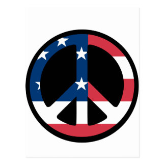 RED WHITE AND BLUE PEACE SIGN POSTCARD