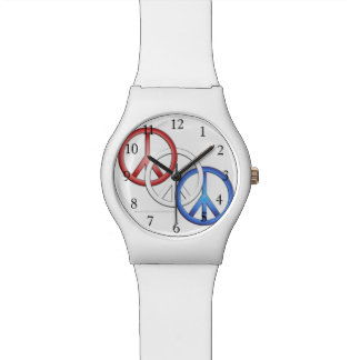Red, White and Blue Peace Signs Watch