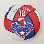 Red, White and Blue Personalize Volleyball Round Pillow