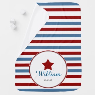 Red White and Blue Personalized Baby Blanket