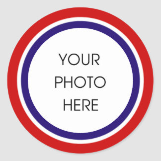 Red White and Blue Photo Frame Classic Round Sticker