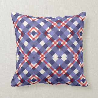 Red, White and Blue Plaid Throw Pillow