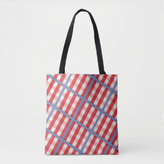 Red, White and Blue Plaid Tote Bag