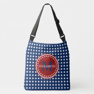 Red White and Blue Polka Dot Monogram Diaper Bag