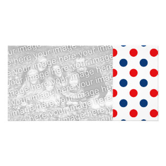 Red White and Blue Polka Dots Photo Card Template