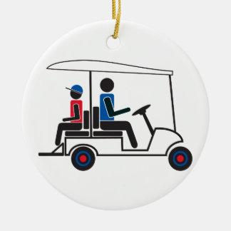 red, White and Blue PTC GA Family Golf Cart Ceramic Ornament