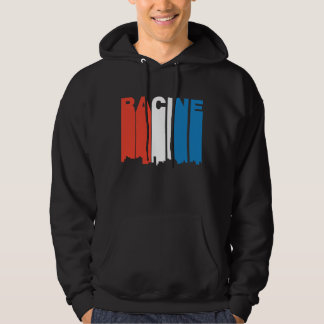 Red White And Blue Racine Wisconsin Skyline Hoodie