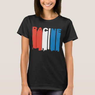 Red White And Blue Racine Wisconsin Skyline T-Shirt