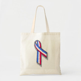 Red White and Blue Ribbon. Tote Bags