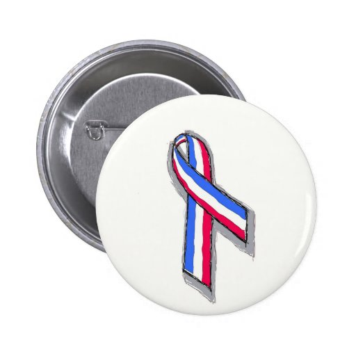 Red, White and Blue Ribbon Pinback Button