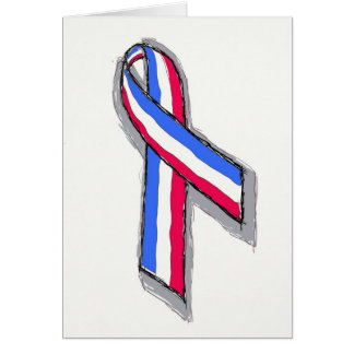 Red White and Blue Ribbon. Greeting Cards