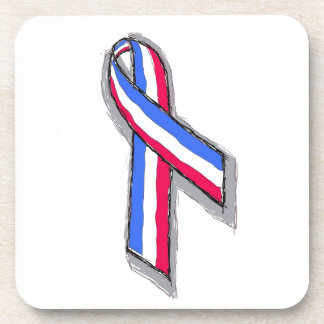 Red, White and Blue Ribbon Beverage Coasters