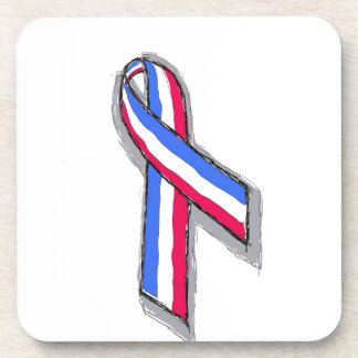 Red White and Blue Ribbon. Beverage Coasters