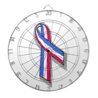 Red White and Blue Ribbon. Dartboard With Darts