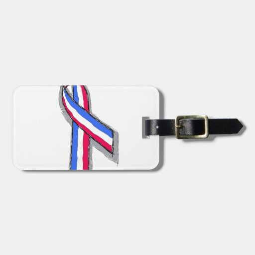 Red White and Blue Ribbon. Tags For Luggage