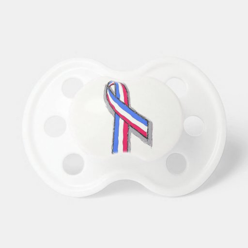 Red White and Blue Ribbon. Baby Pacifiers