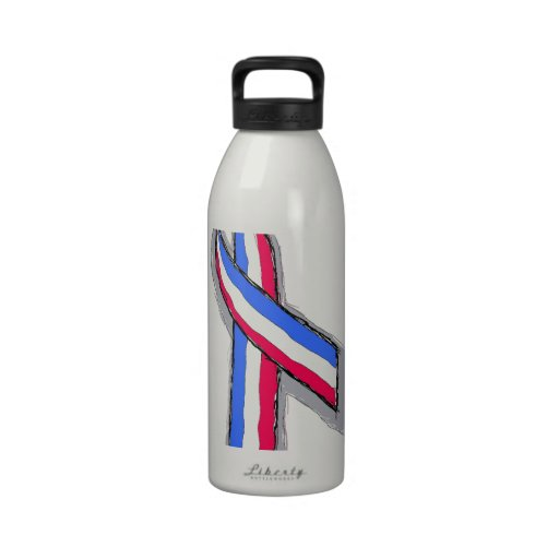 Red White and Blue Ribbon. Drinking Bottles