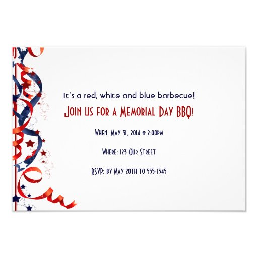 Red White and Blue Ribbons and Stars Invites
