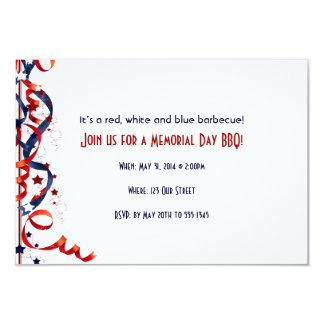 Red White and Blue Ribbons and Stars 3.5x5 Paper Invitation Card