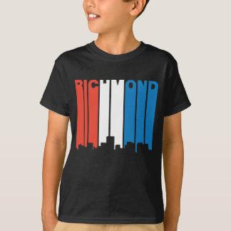 Red White And Blue Richmond Virginia Skyline T-Shirt