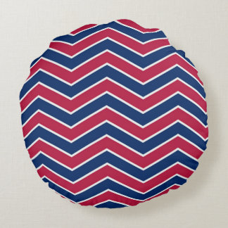 Red White and Blue Round Pillow